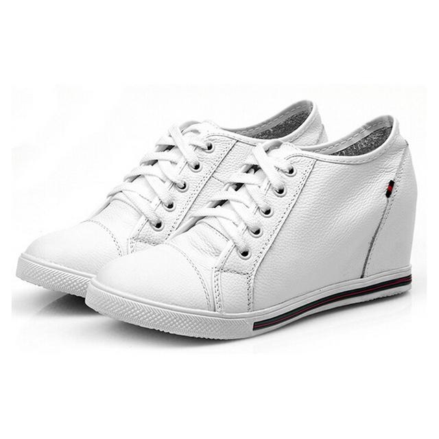 Женская мода обувь из натуральной кожи Высота увеличение клин Обувь женщина коровья ...