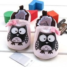2015 spring and summer cute light pink baby girls lovely owl shoes bow slip-on frist walker cotton soft  prewalker shoes(China (Mainland))
