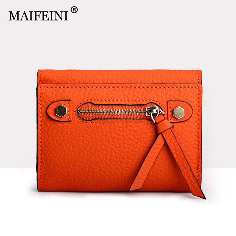 MAIFEINI New Arrival Famous Design Brand 3 Folds Genuine Leather Wallets Women 2016 Real Leather Card Holder Purse Clutch Bags(China (Mainland))