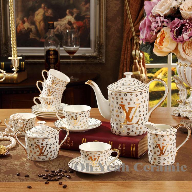 Porcelain tea set bone china coffee set letter design 15 pieces European tea set coffee pot coffee cup saucer set(China (Mainland))