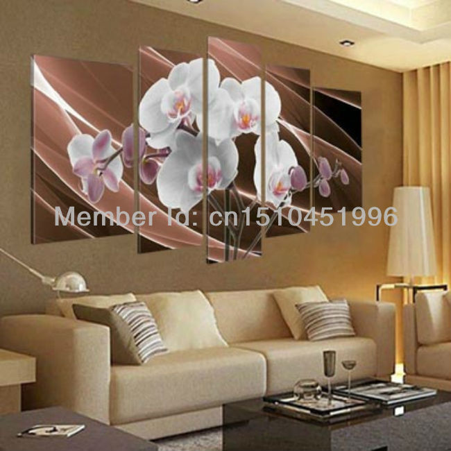Handmade white flower orchid oil painting on canvas for Living room 5 piece sets