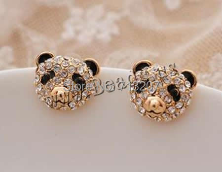 Free shipping!!!Zinc Alloy Stud Earring,high fashion, with plastic earnut, stainless steel post pin, Bear, 18K gold plated<br><br>Aliexpress