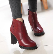 Spring Fashion Thick Heel Platform High-Heeled Shoes Platform Women Boots Round Toe Zipper Vintage Ankle Women Boots XZ6057(China (Mainland))