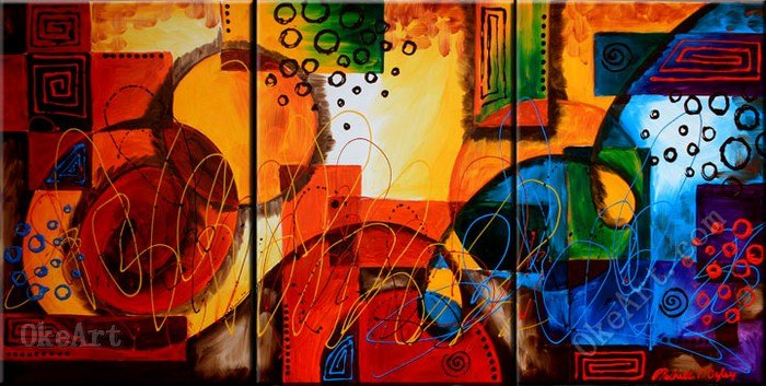 Dyslexia oil painting on canvas discount s manufacturers 3 panel wall art(China (Mainland))
