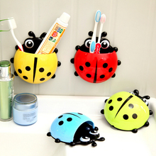 Lovely Ladybug Toothbrush Holder Wall Suction cup Cartoon Sucker Suction Hooks  Bathroom Sets (China (Mainland))