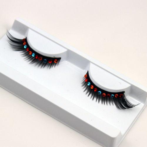 Rainbow Crystal luster bridal webbing artificial false eyelashes.fake eyelashes.18.21714.Free shipping(China (Mainland))