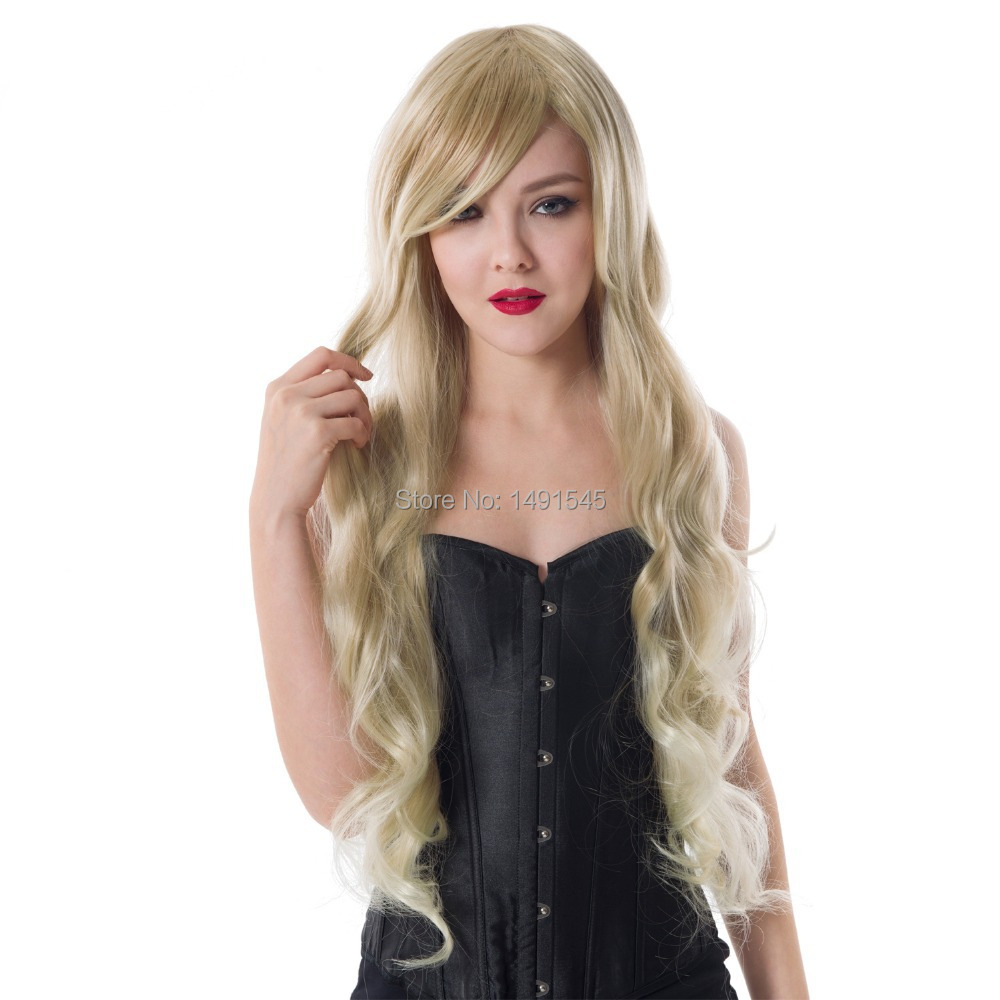 Dayiss Brand Women's Sexy Long Curly Wavy Gold Hair Wigs Costume Cosplay Kinky Peluca China Wig Retailer(China (Mainland))