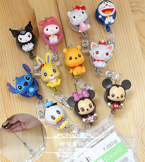 Newest Cartoon Retractable Pull Key ID Card Badge Holder Name Tag Card Case Reel For School Office Company 10pcs/lot(China (Mainland))