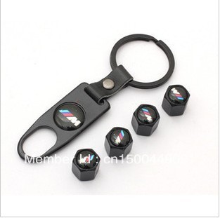 Car Styling Black Car Tyre Tire Valve Stem Caps  M Logo Emblem Air Dust Covers+Tool Wrench Keychain