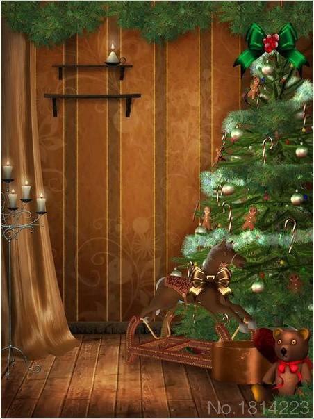 3x5FT Curtain Wall Wooden Floor Christmas Tree Bear Rocking Horse Photography Studio Backdrop Background Customize Vinyl 1x1.5m(China (Mainland))