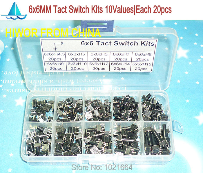 (200pcs/lot) 6x6MM Tact Switch Assortment Kits , Tactile Push Button Switch Kit, Height: 4.3MM~16MM<br><br>Aliexpress