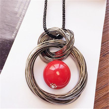 Buy New circles simulated pearl ball pendant long necklace women black chain fashion jewelry wholesale gift free for $2.09 in AliExpress store