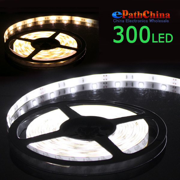 NEW 5PCS/LOT Waterproof 5M 3000K Warm White 55W SMD5050 Flexible 300 LEDs Rope Lamp LED Stripe Light 12V DC(China (Mainland))