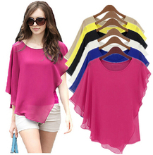 18 Color Plus size  4XL 5XL 6XL Ladies Chiffon Blouses chiffon shirts blusas,Batwing sleeve ruffles women asymmetric shirts(China (Mainland))