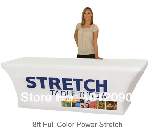 Stretch Fabric Table Cover Fits 8ft Table Printed Full Color Dye Sub Tablecloth(China (Mainland))