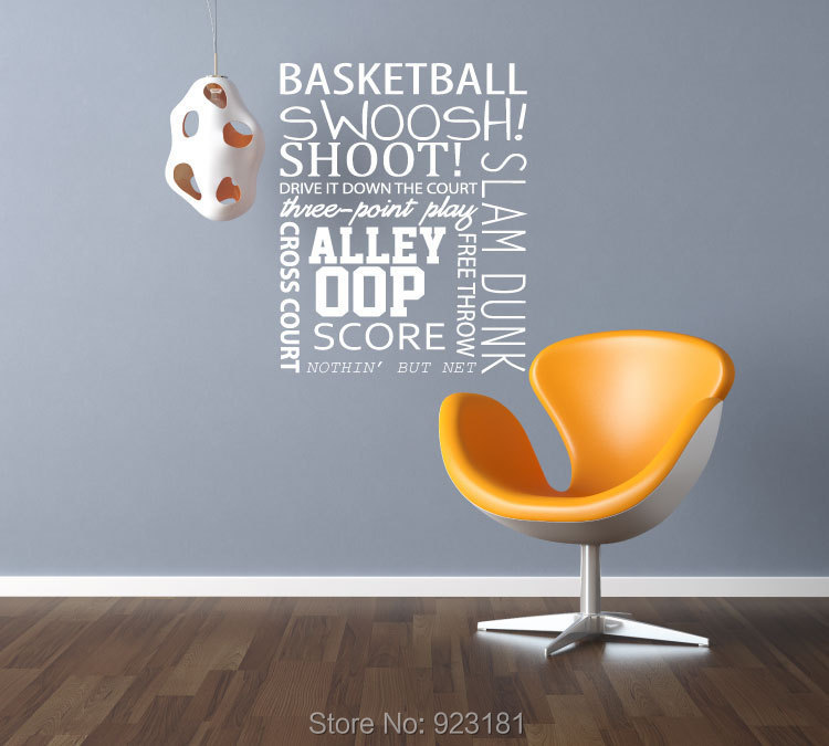 Hot Basketball Quote Shoot Sport Wall Art Sticker Decal Home DIY Decoration Wall Mural Removable Bedroom Decor Stickers 57x75cm(China (Mainland))