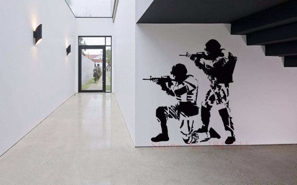 E679 Wall Stickers Decal Art Decor Vinyl DIY home decor Art Poster Wall Decal Sticker Vinyl Mural Soldiers Warriors Military