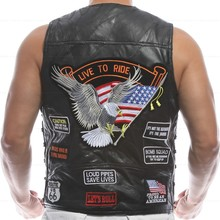 Men's Genuine Leather Motorcycle Vest Men Halley Punk Vest Sleeveless Jacket Sheep skin Patches Wind proof and warmth retention(China (Mainland))
