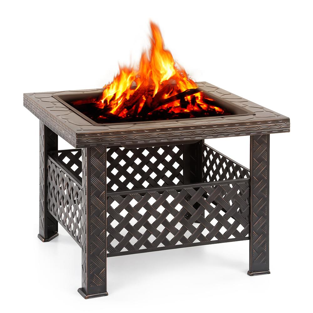 iKayaa New Metal Backyard Fire Pit Patio Rectangular Garden Firepit Stove Brazier Outdoor Fireplace Firepit For Outdoor Heater(China (Mainland))