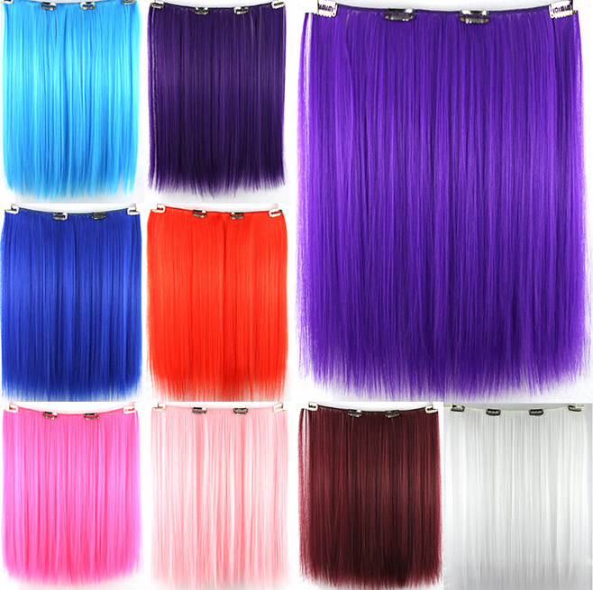 16.5 inch 52g Long Straigh Colored 4 Clip Hair Extensions White Girls Synthetic Kanekalon piece accessories - H&C Fashion Store store