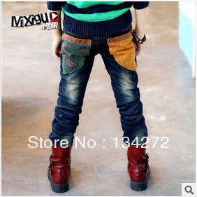 free shipping retail 2014 children's long trousers kids Male child jeans autumn and winter boy child jeans thickening pants(China (Mainland))