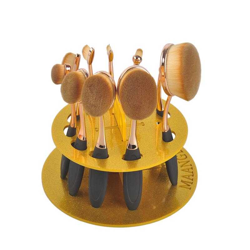 1pcs Gold 10 Grids Acrylic Toothbrush Oval Makeup Brushes Display Holder Stand Storage Boxes Organizer Brush Showing Rack makeup(China (Mainland))