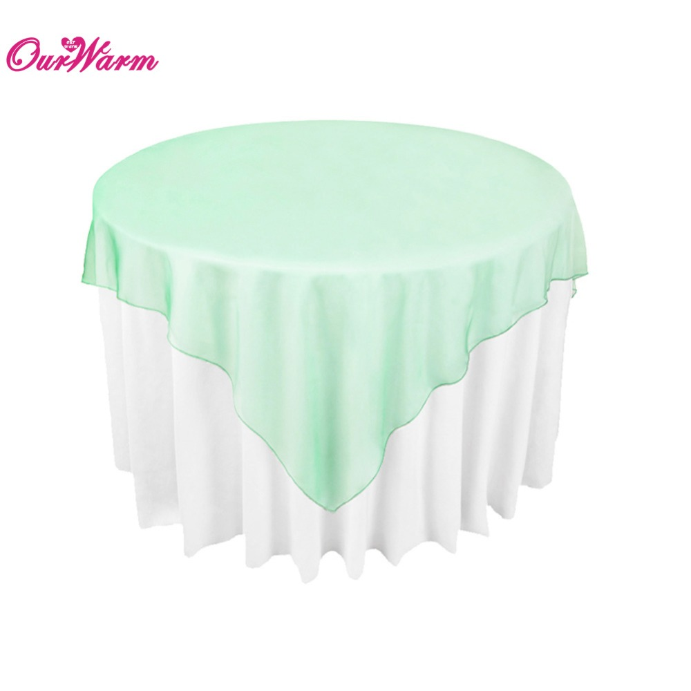 mint green organza Table Overlay Square Tablecloth Wedding Party Supply Sheer Decor 180 x 180cm(China (Mainland))