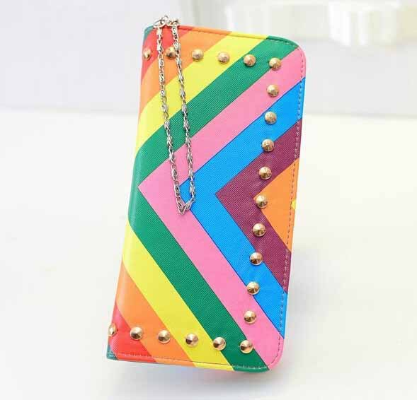 Brand New 2015 Rainbow Rivet Wallet Fashion Woman Long Purses Women's Wallets High Grade Clutch Bag Zipper Coin Purse Handbag(China (Mainland))