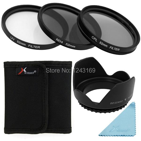 UV CPL ND4 Filter Lens + Lens Hood 52mm For Nikon D3200 D3100 D3000 D90 D80 D70 LF281-SZ(China (Mainland))