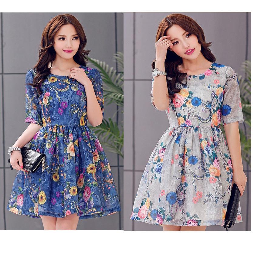 Wonderful Lace Dress Full Sleeve Plus Size Women Clothing 2015 New Style Womens