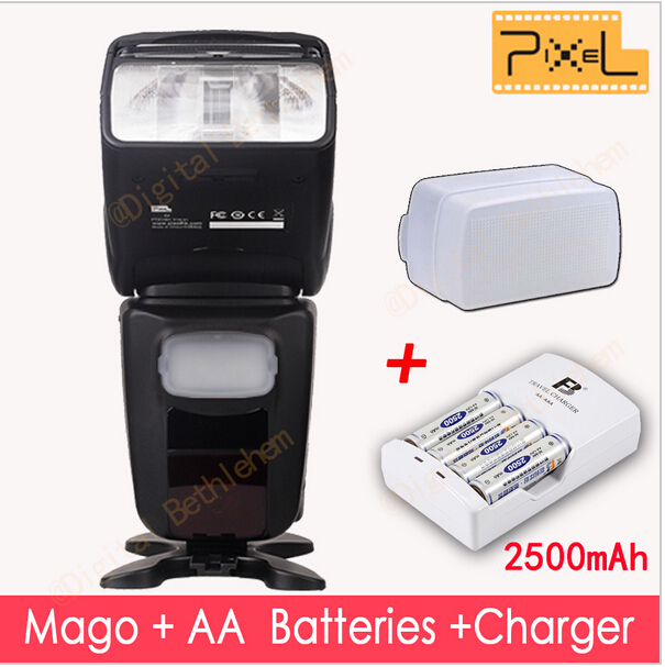 PIXEL Mago GN65 TTL Master/Slave Wireless High Speed Sync 1/8000s Flash + 4 AA Batteries & Charger & Bounce for CANON A603005(China (Mainland))