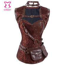 Brown Steel Boned Gothic Corset Steampunk Acier Korse Sexy Plus Size Corsets And Bustiers Burlesque Costume Women Clothing S-6XL