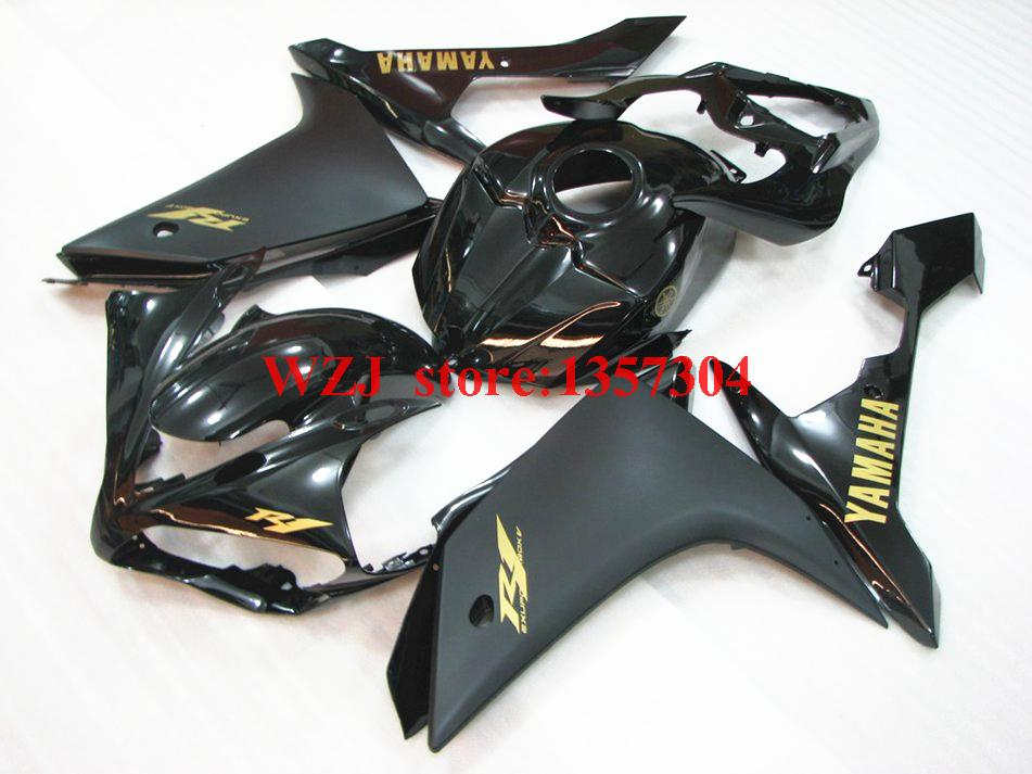 Full Body Kits YZF R1 2007 - 2008 2008 Matte Black Gloss Black Gold Stikers Injection Fairing Kits for Yamaha YZFR1 2008