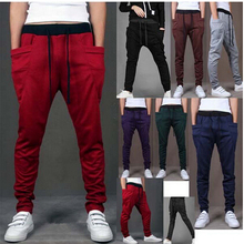2014 winter new fashion brand men harem pants sport pants, men's big pocket design joggers tights M ~ XXL