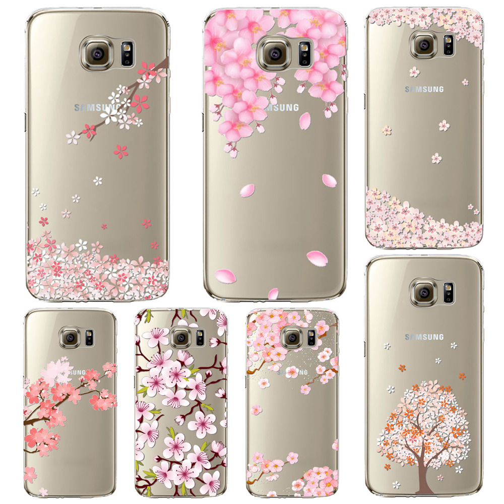 Silicon Mobile Phone CaseS For Samsung Galaxy S6 Case Cover Clear Pink Cherry Flowers Soft TPU Cellphone Coque For Samsung S6(China (Mainland))