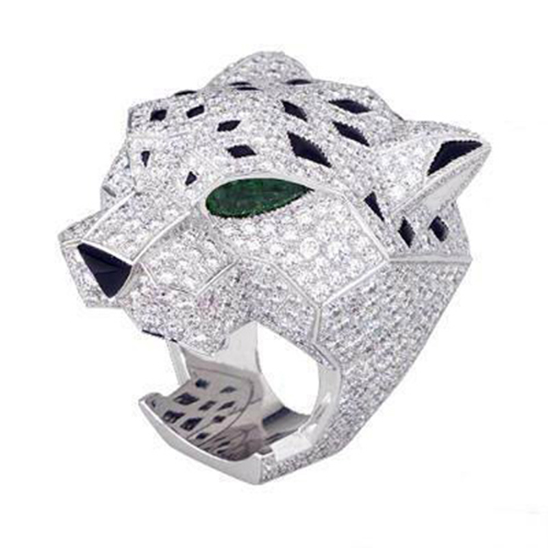 Derongems_Fine Jewelry_Luxury Emerald Stones Leopard Rings_S925 Solid Sliver Emerald Finger Rings_Manufacturer Directly Sales(China (Mainland))