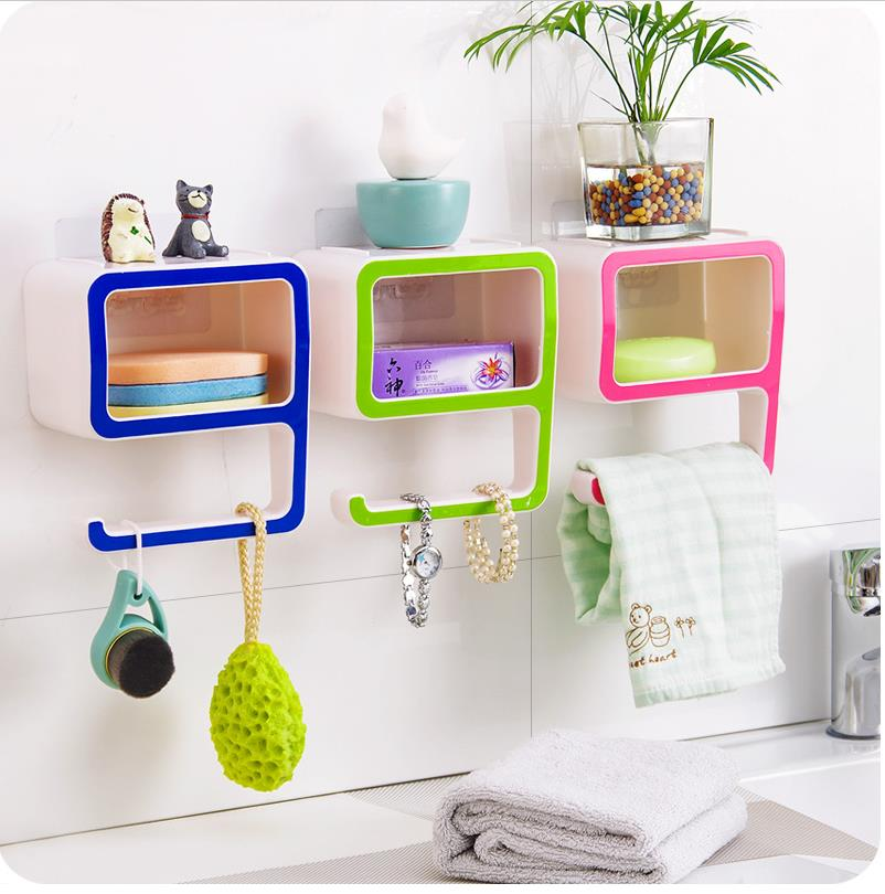 Guaranteed 100% Creative Number 9 Storage Soap Rack Plastic Boxes Suction Make up Bathroom Organizers Decorate Home Pink Green C(China (Mainland))