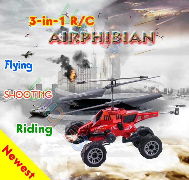 UDI U821 3-in-1 RC Remote Control Toys Flying Car & Helicopter Chariot 3.5CH Radio Warplane Amphibian Missile Bullet(China (Mainland))