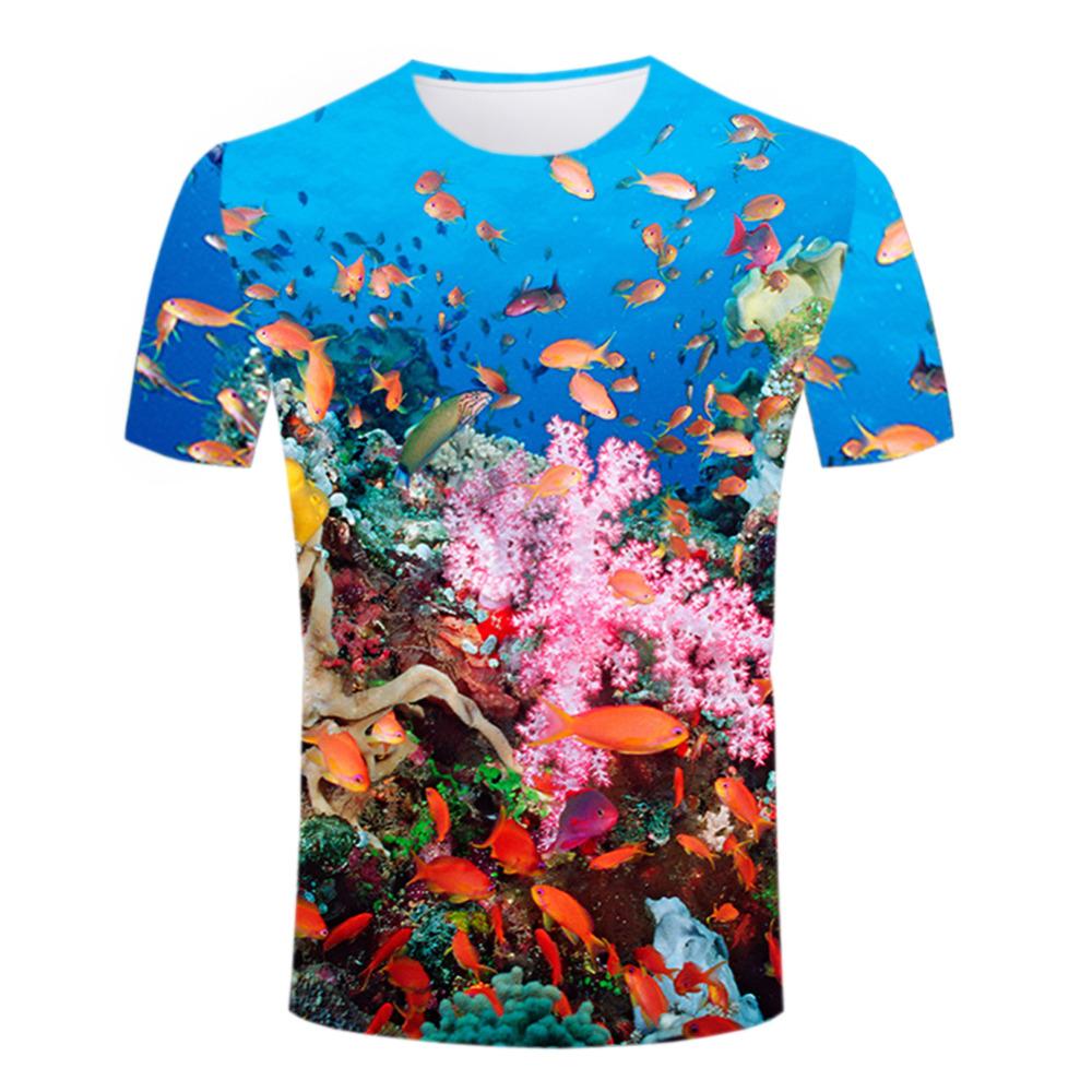 High Definition Summer 3d Print Men T Shirts Blue Ocean T