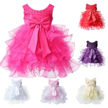 2016 Sleeveless 6Colors Toddle Baby Infant Cake Dress Flower Girl Party Outfits Tutu Newborn Wedding New for Age 0-24Months(China (Mainland))