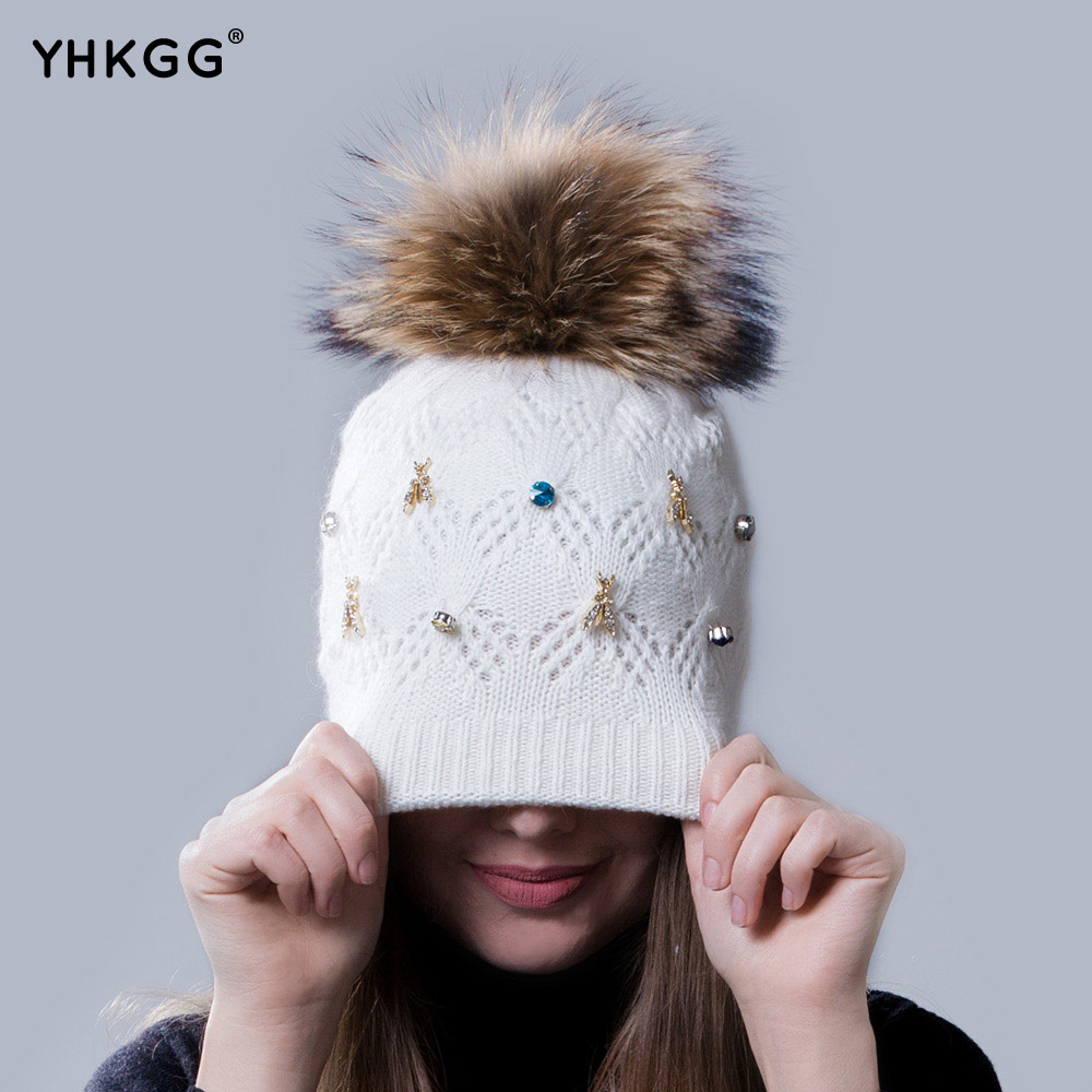 2016 colored diamond drills very fashionable lady warm winter wool cap wool knitted cap cap with the bulb(China (Mainland))