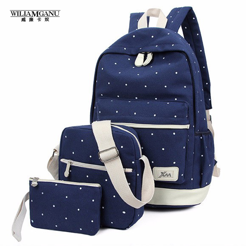 WILIAMGANU 3Pcs Korean Casual Women Backpacks Canvas Book Bags Preppy Style School Back Bags for Teenage Girls Composite Mochila(China (Mainland))