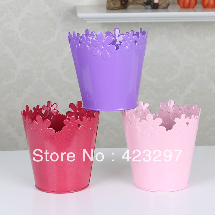 Plastic flower bucket pot planters holders iron vase for artificial flowers(China (Mainland))