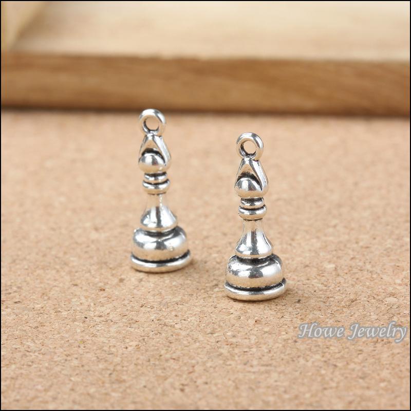 "80PCS wholesale  New international chess ""bishop"" 3D charm pendant Tibetan silver fits for European  Bracelet DIY jewelry 20120(China (Mainland))"