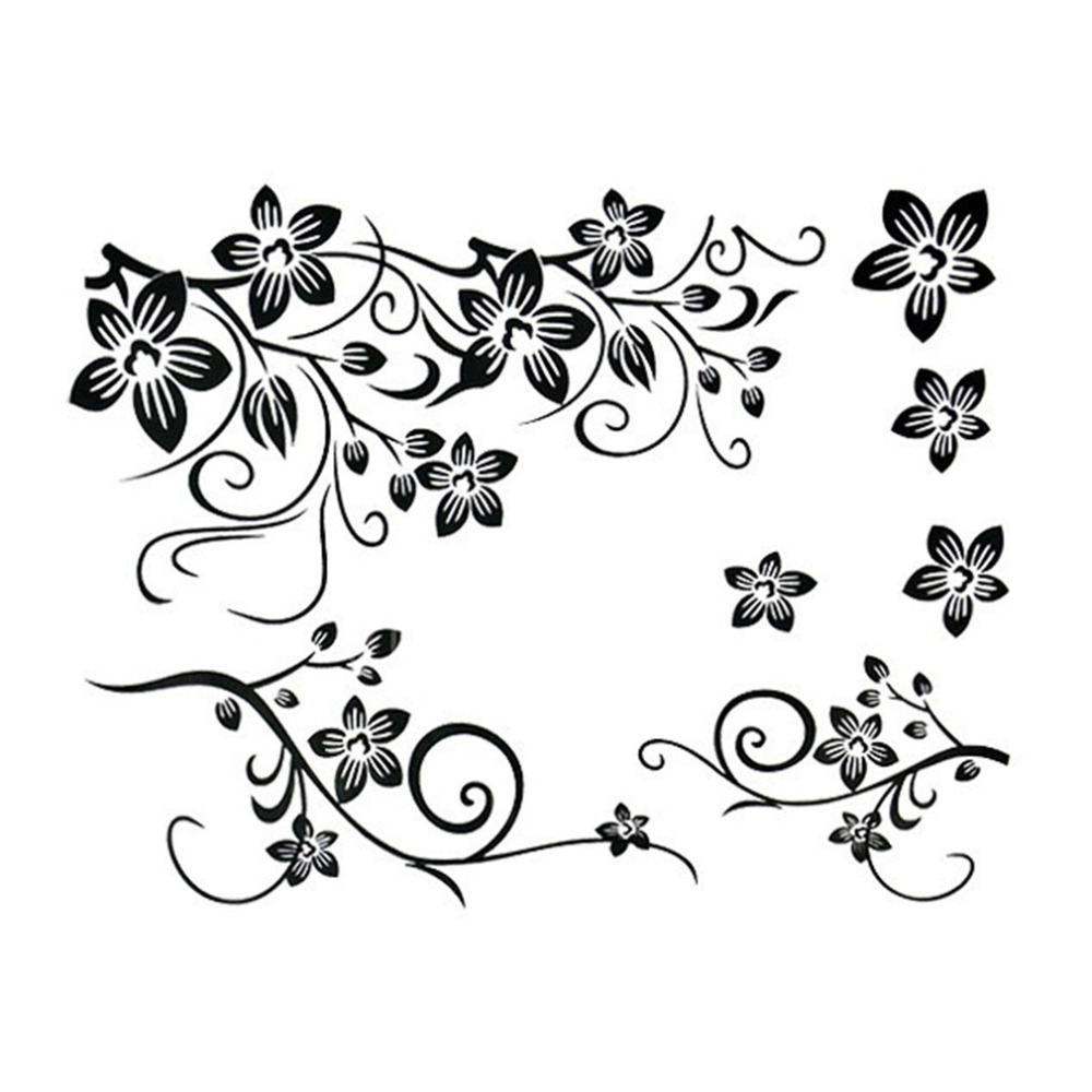 Hot Sale 2015 Wall Decal DIY Decoration Fashion Romantic Black Flowers Removable Wall Stickers For Home Decor Manufacture(China (Mainland))
