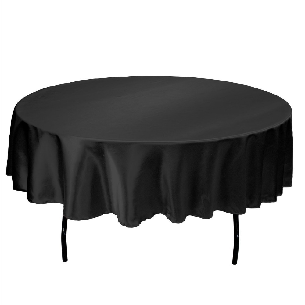 Wholesale Hot Sale Genie 90-Inch Satin Tablecloth Round Black New Free Shipping(China (Mainland))