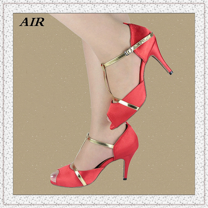 Customizable Peep Toe Med Or High Heels Flock Womens Salsa Ballroom Tango Latin Dance Shoes Red With Gold Line<br><br>Aliexpress