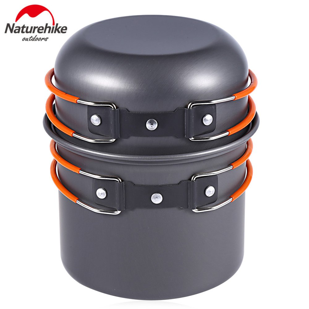 Naturhike -New Ultralight Outdoor Camping Cookware Utensils Four Combination Tableware For Picnic Bowl Pot Pan Set(China (Mainland))