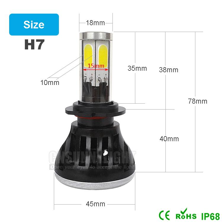 H4 H7 H13 H11 H1 9005 9006 COB LED Headlight 80W 8000LM Super Brigh Car LED Headlights Bulb Head Lamp Fog Light Pure White 6000K (12)