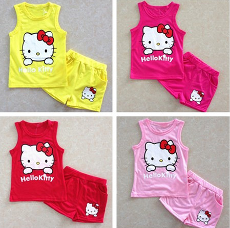 New Kids Summer Set Hello Kitty Girls Casual Sets Vest + Shorts 2Pcs Suits Cotton Children Girls Clothes(China (Mainland))